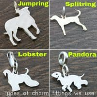 German Wirehaired Pointer Docked Charm silhouette solid sterling silver Handmade in the Uk